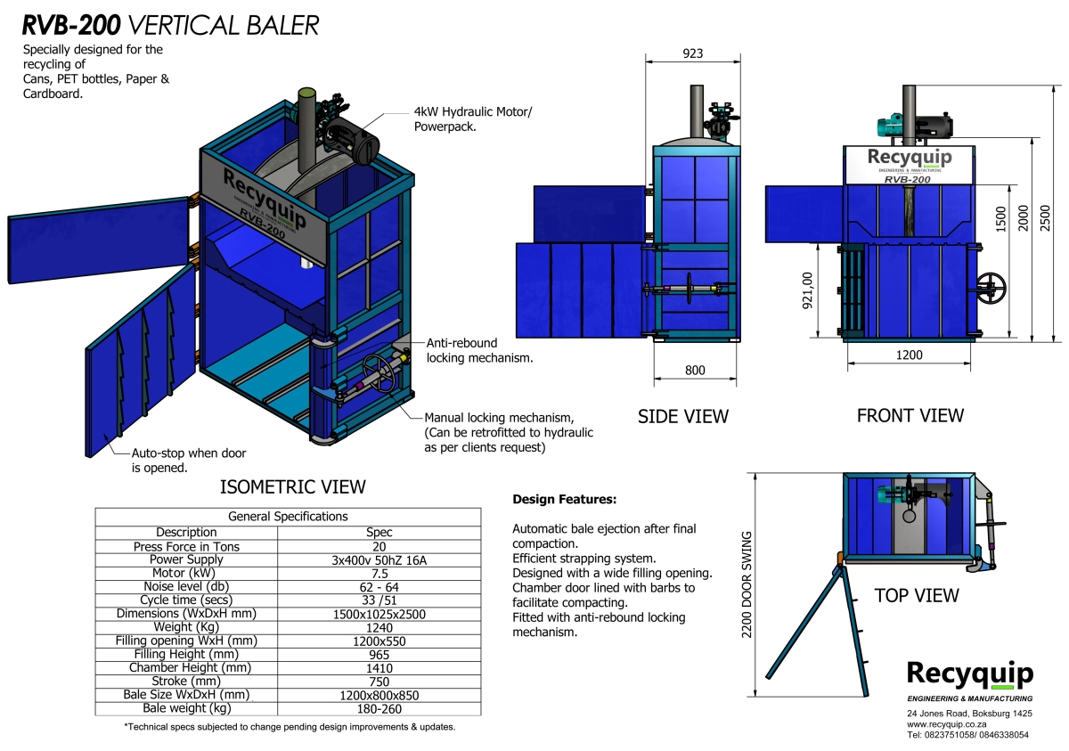rvb-200 vertical baler catalogue brochure