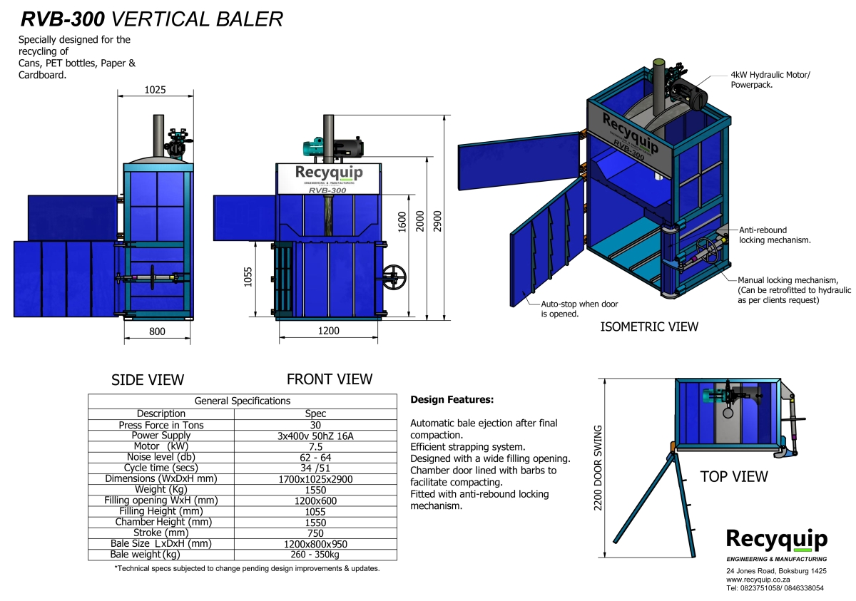 rvb-300 vertical baler catalogue brochure